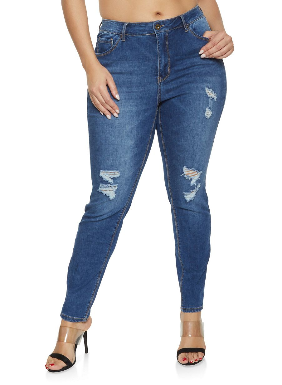 bb4c3340f45a3 Plus Size WAX High Waisted Push Up Jeans - Blue - Size 14 in 2019 ...