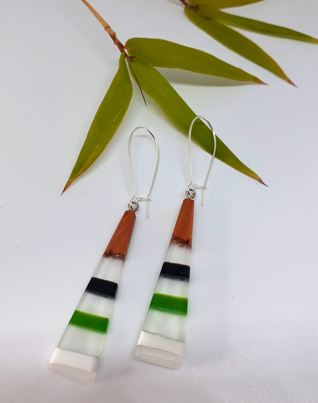 Handcrafted contemporary wood & resin earrings  Made in NZ by