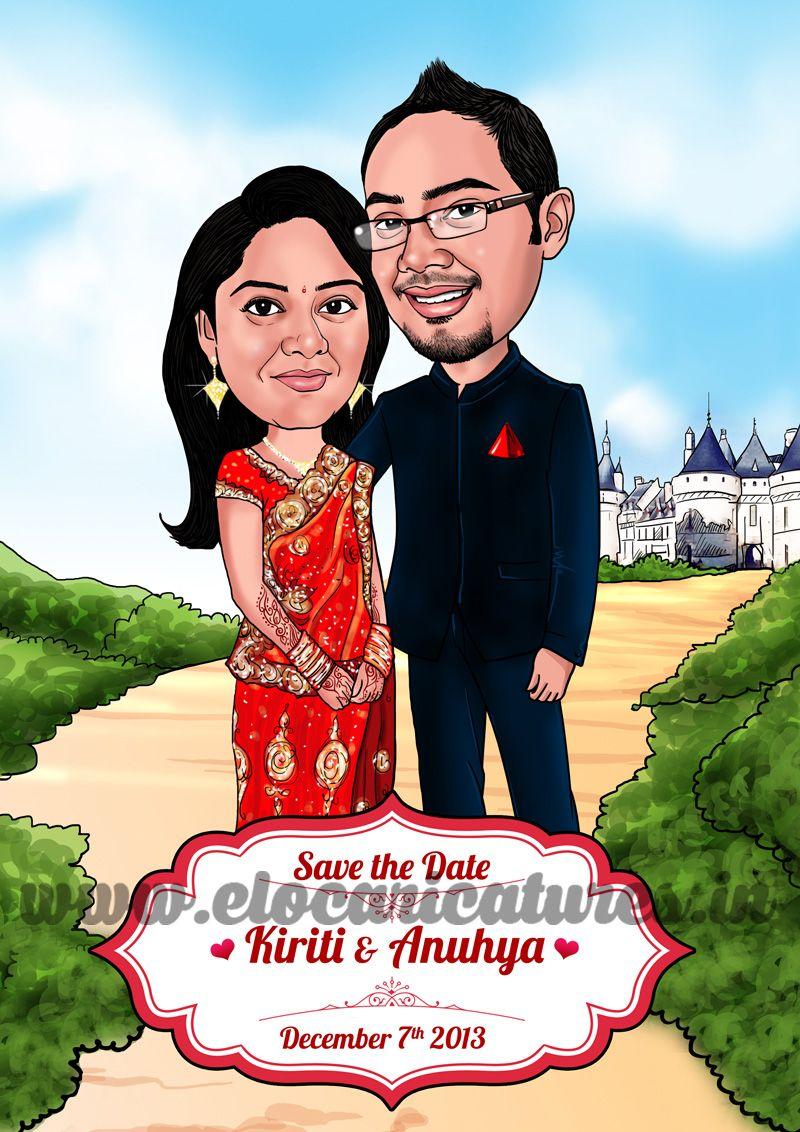 Indian Couple Caricature! | Wedding caricatures | Pinterest ...