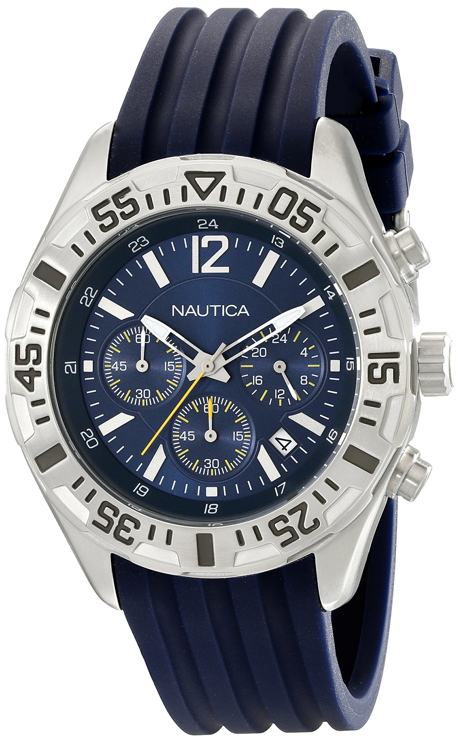 Nautica Men's N17667G NST 402 Stainless Steel Multifunction Watch. Round watch featuring dive-style bezel and logoed blue dial with luminous hands, magnified date window, and three chronograph subdials. 45 mm stainless steel case with mineral dial window. Japanese quartz movement with analog display. Blue silicone band with buckle closure. Water resistant to 100 m (330 ft): In general, suitable for swimming and snorkeling, but not scuba diving.