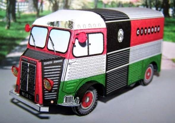 Citroen HY Multicolor Paper Model - by Papadenati & Camille - == -  Using as base an original template by designer Camille, my friend, French modeler Papadenati created this beautiful version of the Citroen HY truck in a multicolor version. Model in 1/50 scale.