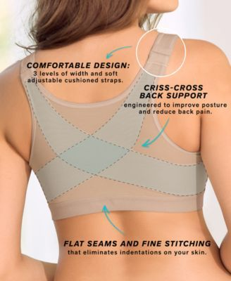 Front Closure, Back Support Posture Corrector Bra