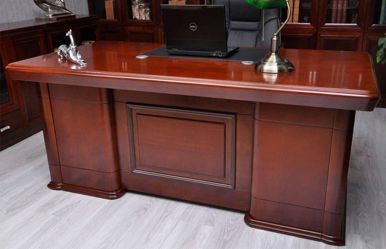 Scrivania da ufficio in legno bianco con cassetti cm