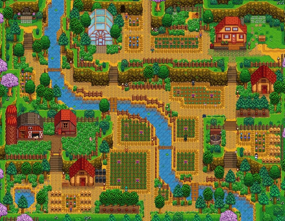 Second Farm Finished This Is My Hilltop Farm Stardewvalley Stardew Valley Layout Stardew Valley Farms Farm Layout
