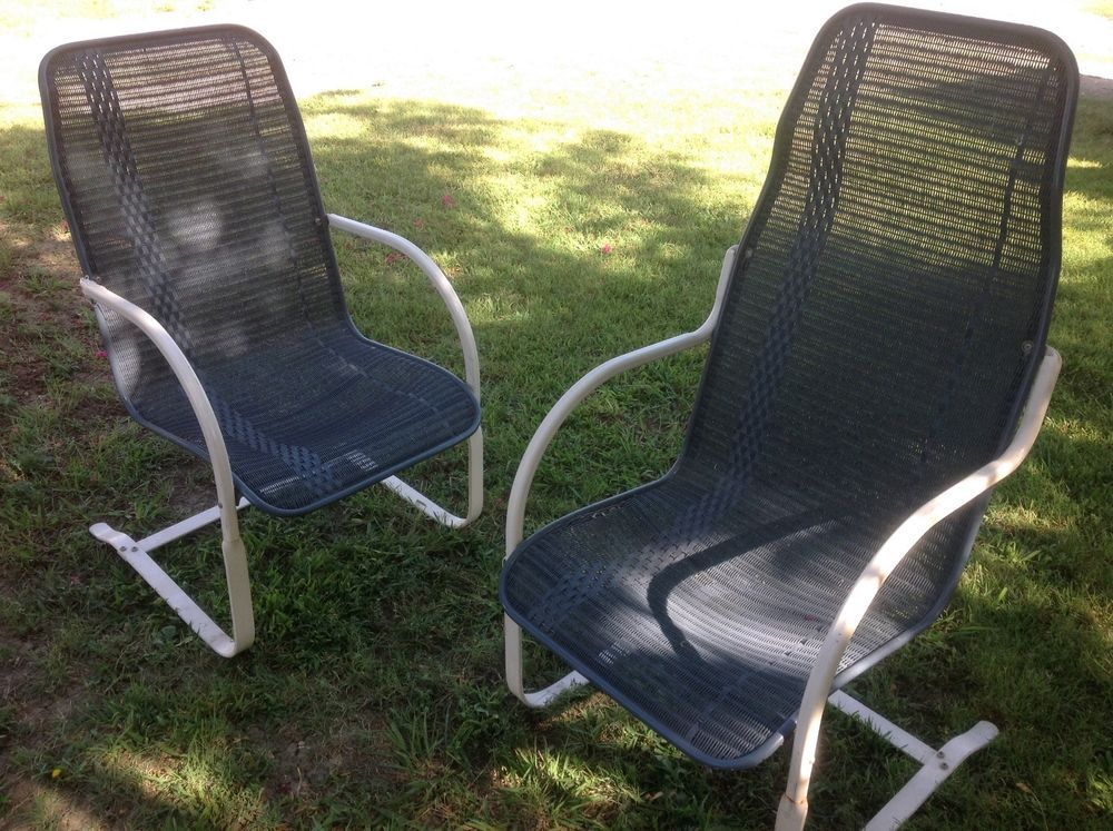 Vintage LLoyd Loom Wicker Iron Bouncy Patio Lawn Chairs Mid Century Rocking
