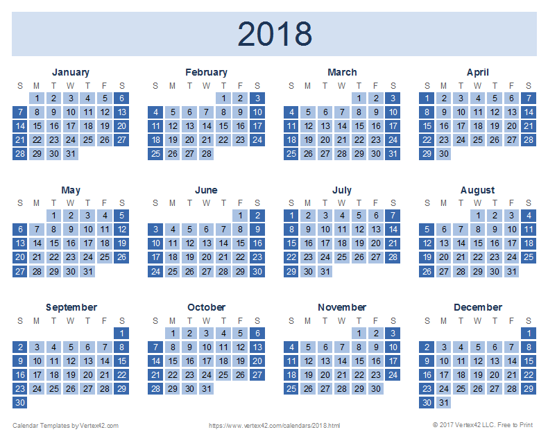 Download a free 2018 Yearly Calendar - Reverse Design from Vertex42 ...