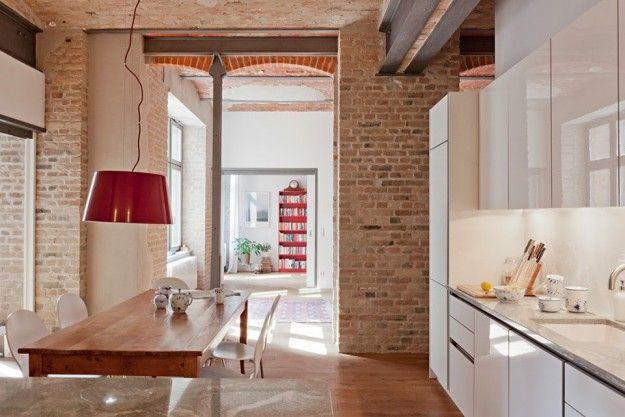 Decorare casa con i mattoni a vista Cucina loft, Mattoni