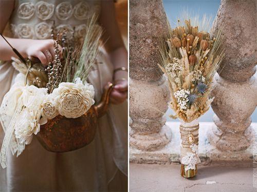 Una boda de cuento decorada con trigo y flores secas Decoración y - flores secas