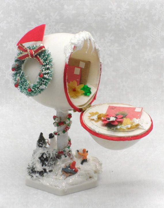 Christmas Mailbox w Handmade Packages and Miniature Snow Scene Christmas Egg…