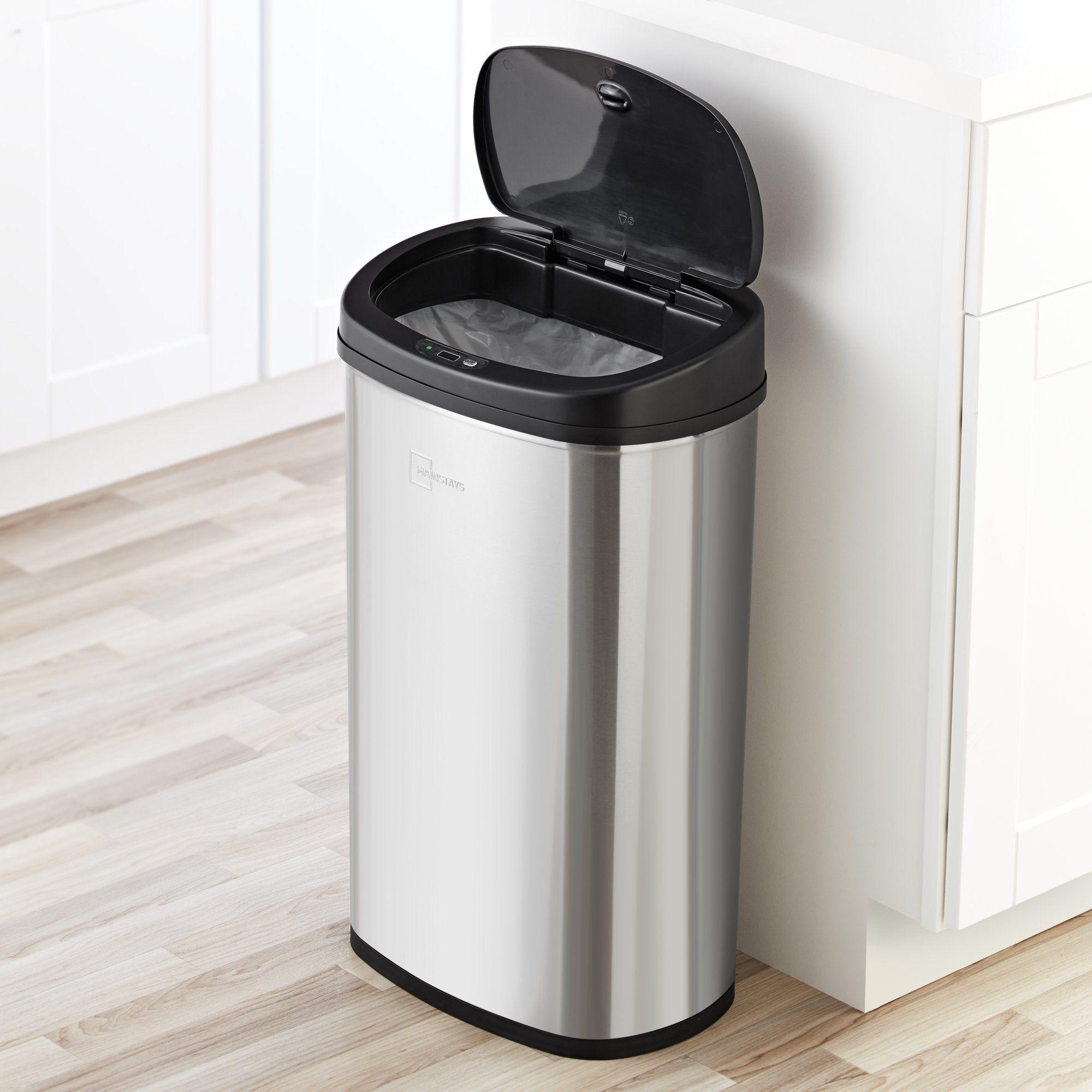Mainstays Motion Sensor Wastebasket Can 13 2 Gallon Stainless Steel Kitchen Walmart Com In 2021 Trash Can Kitchen Trash Cans Garbage Bin