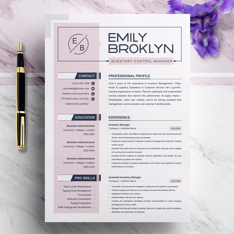 Resume Template | Modern, Creative and Professional Word CV + Cover Letter | 3 Pages Pack