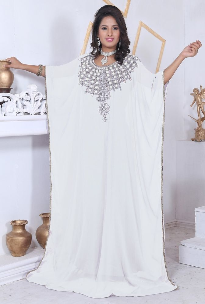 a90afe14f White Dubai Style Islamic Arab Moroccan Farasha Kaftan Caftan Maxi ...