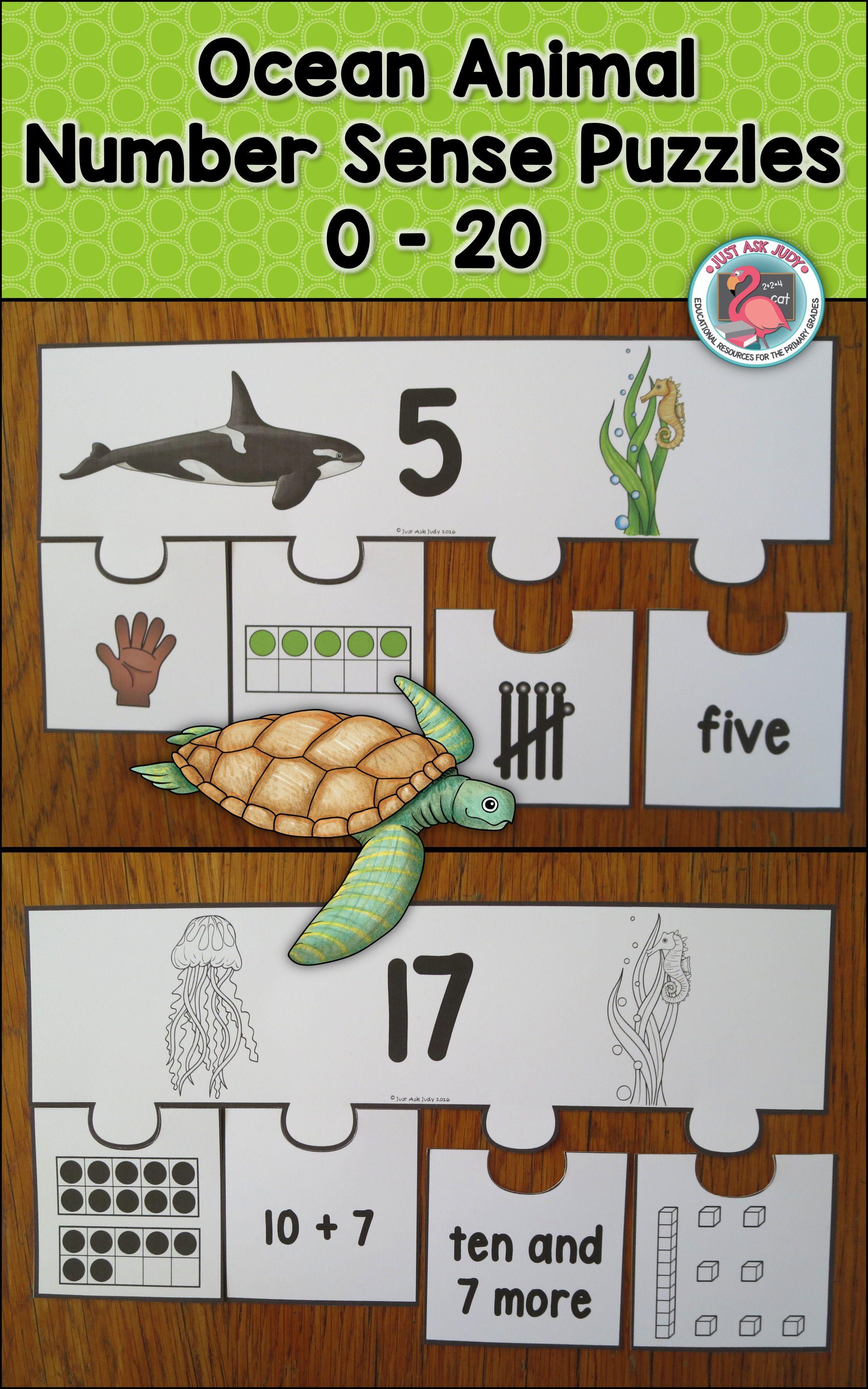 Number Sense 0 20 Ocean Animal Puzzles