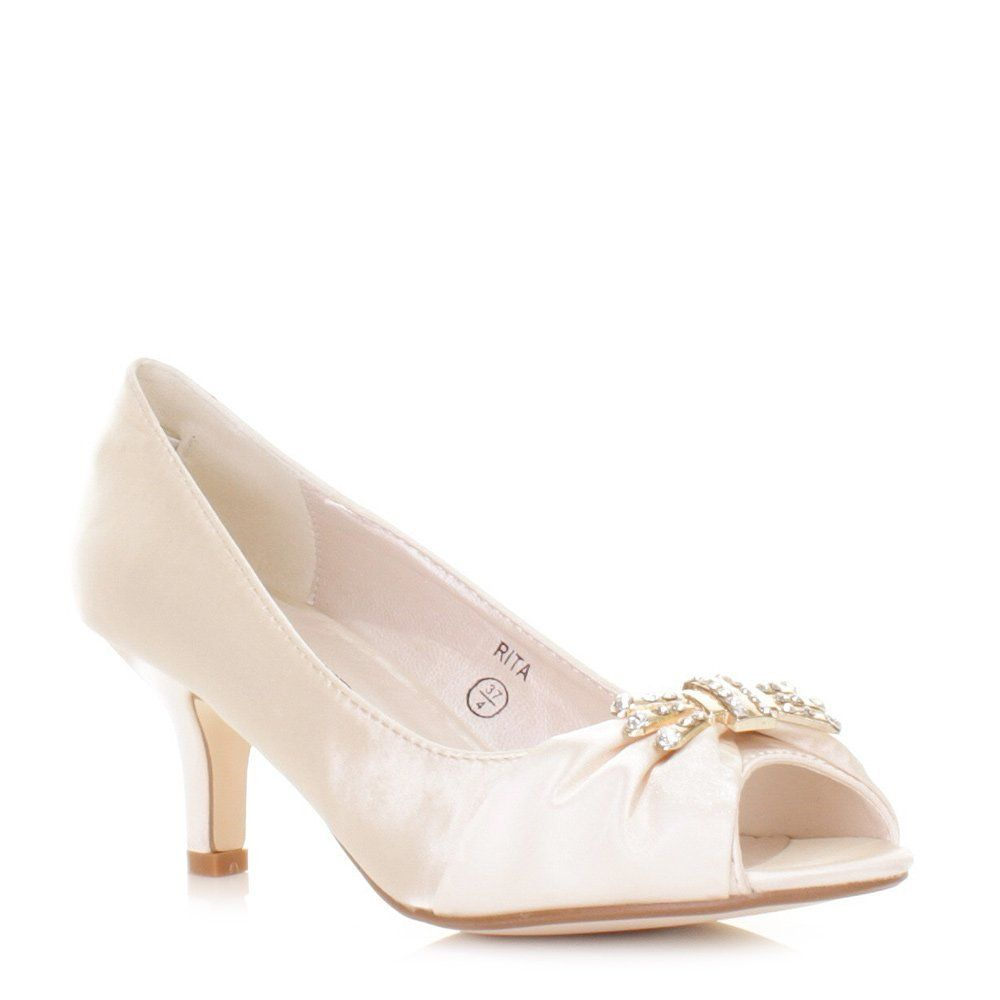 Ivory Satin Peep Toe Kitten Heel Wedding Shoes Size 3 8 Amazon Co Uk Shoes Bags Kitten Heels Wedding Wedding Shoes Heels Peep Toe Wedding Shoes