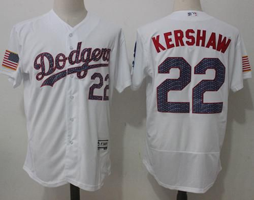 a47ea886b8a Dodgers  22 Clayton Kershaw White Fashion Stars   Stripes Flexbase  Authentic Stitched MLB Jersey