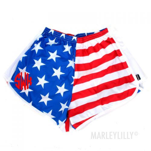 Personalized Athletic Running Shorts With Liner Running Shorts American Flag Shorts Monogram Outfit