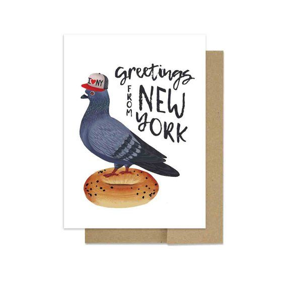 Funny New York Greetings Card withPigeon on a Bage