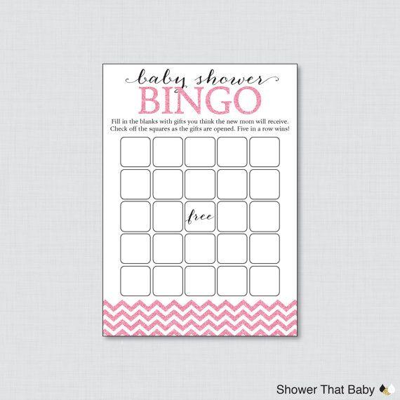 Pink Glitter Chevron Baby Shower Bingo Cards Printable Blank Bingo