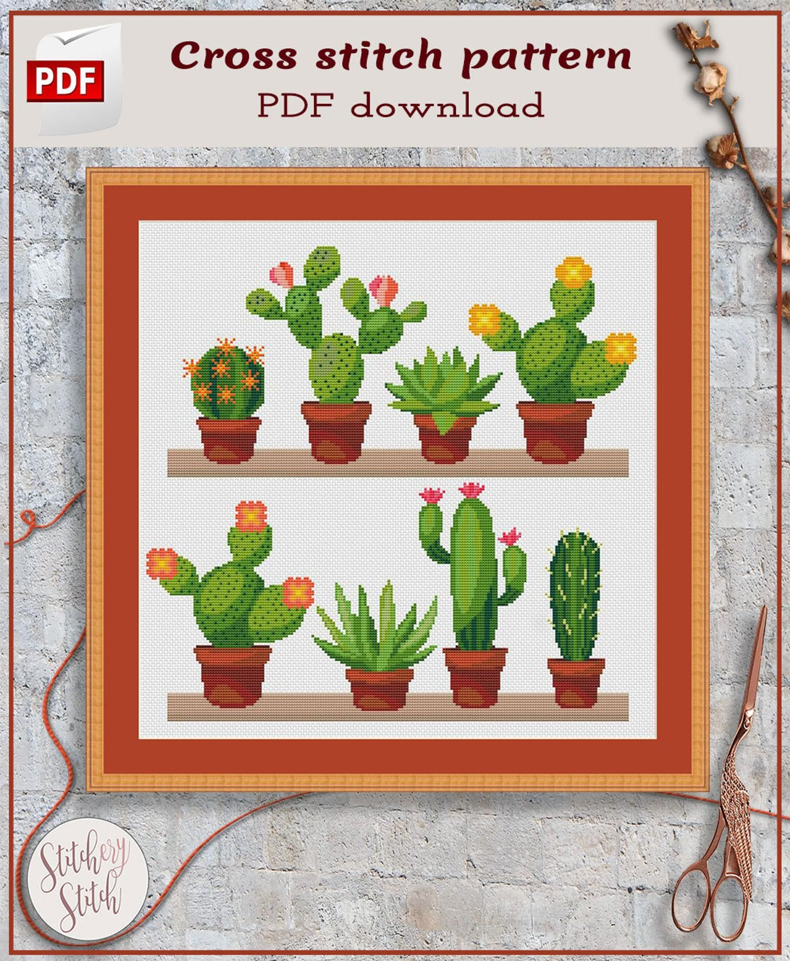 Cactus Cross Stitch Pattern Succulent Cross Stitch Chart Cacti Cross Stitch Design Modern Cross Stitch Pattern Pdf Punto De Cruz Moderno Punto De Cruz Patrones Y Bordados En Punto Cruz