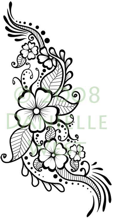 Love It Flower Henna Tattoo Design Stencil Learning