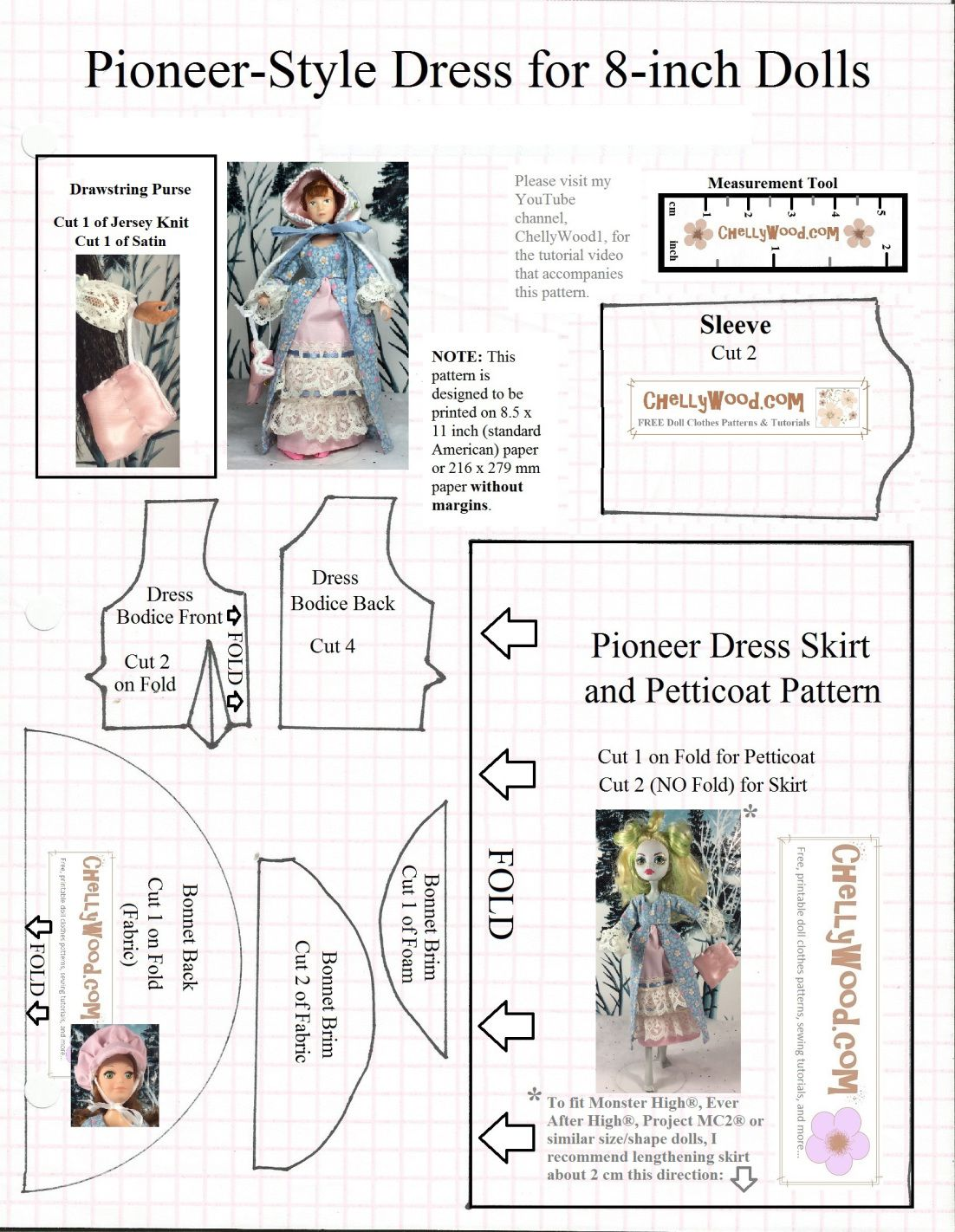 Free printable sewing patterns for Monster High and Ever After ...