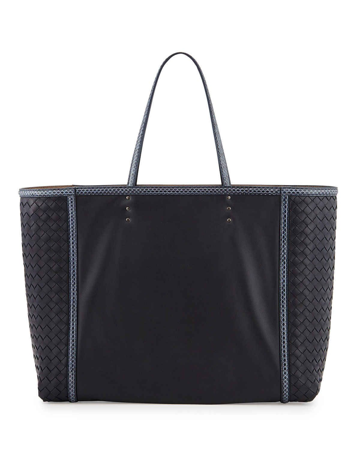 7e32df856fb low-cost Bottega Veneta Medium Snake   Napa Tote Bag Navy deal online, save  up to 70% off dokuz limited offer, no taxes and free shipping.