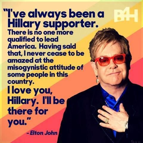 Elton John in support of Hillary Clinton