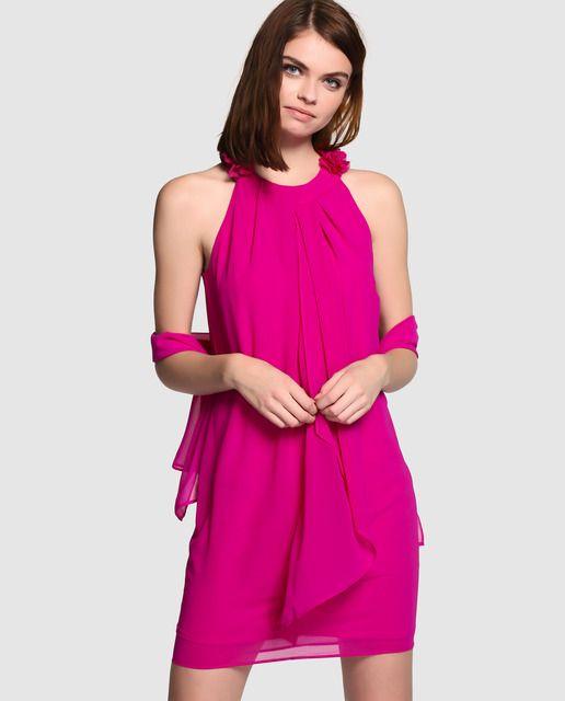 Vestido rosa de mujer Fiesta El Corte Inglés con escote halter ...