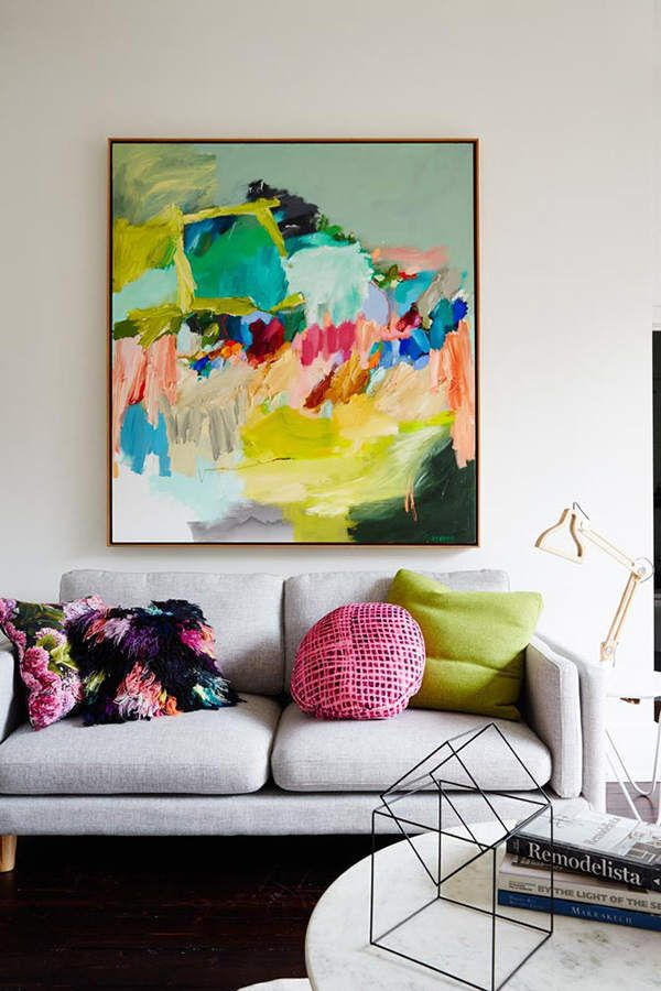 Abstract Room Designs: Colour On Wall, Colors In Soft Furnishings, Against Cement