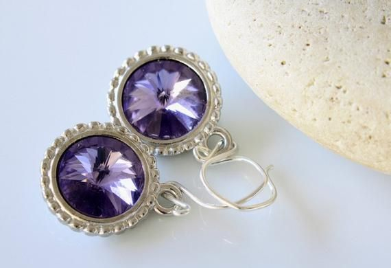 99b19c66f Swarovski Crystal Earrings, Rivoli Earrings, Tanzanite Rivoli Crystals, Crystal  Earrings, Dangle Earrings, Everyday Earrings, Bling Earrings