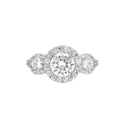 Round engagement ring with side stones     Sterling Silver     Nickel Free     Rhodium Plated     Center Cubic Zirconia Stone: 8mm (1)     Side Cubic Zirconia Stone: 4mm (2)     Side Cubic Zirconia Stone: 2mm (6)     Surrounding Cubic Zirconia Stone: 1.75mm (8)     Surrounding Cubic Zirconia Stone: 1.25mm (18)  Weight 4.60 Width: 1.2cm Length: 2cm