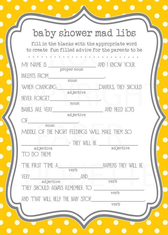 Baby Shower Game Mad Libs   Yellow Gray Polka Dot   Gender Neutral   Print  Your Own