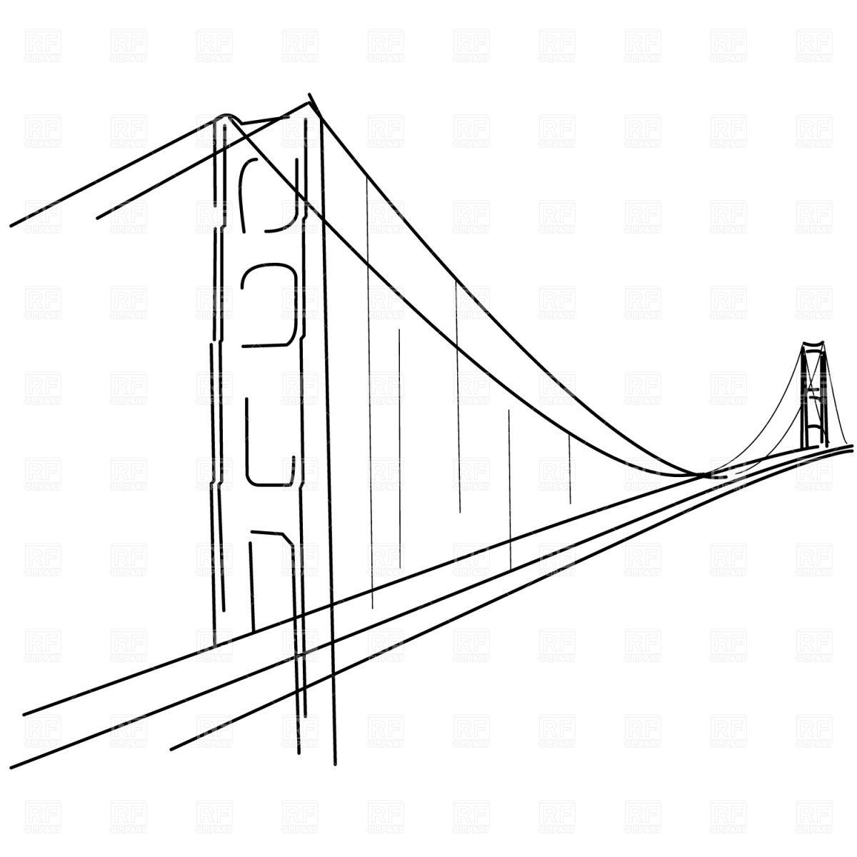 Printable coloring pages golden gate bridge - Symbolic Golden Gate Bridge Silhouette Vector Image Rfclipart