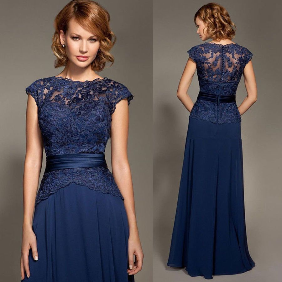 Navy Blue Lace Mother Of The Bride Dresses Prom Party
