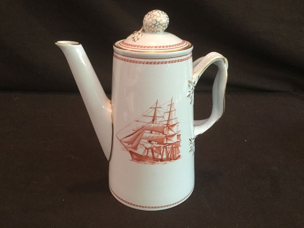 2 PIECE COFFEE POT TEAPOT IN THE SPODE RED TRADE WINDS PATTERN ...