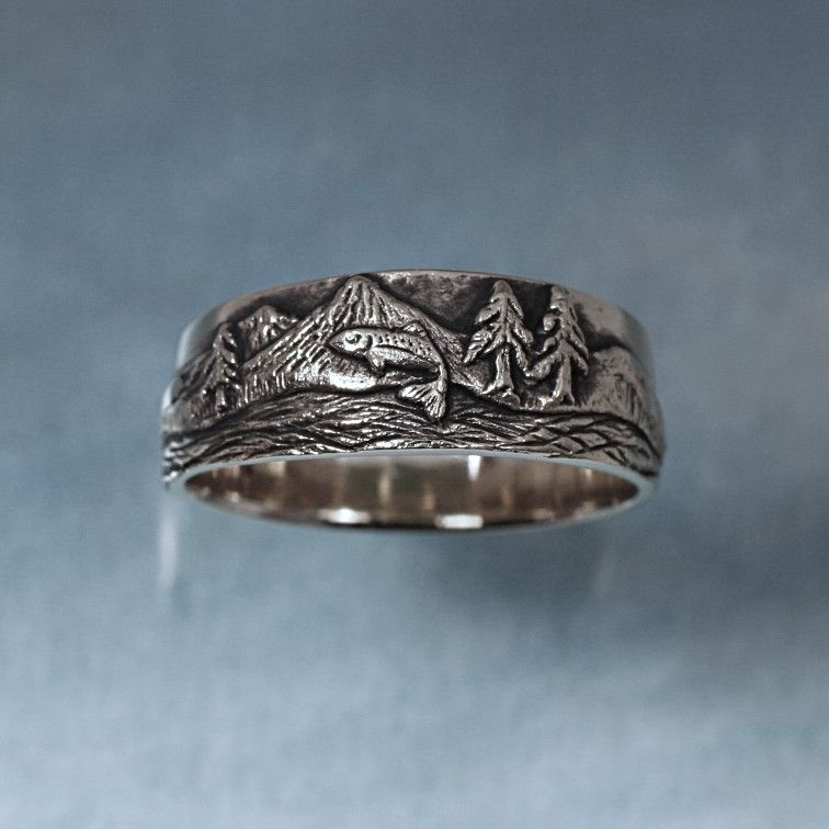 trout fishing ring in sterling silver mountain fly by