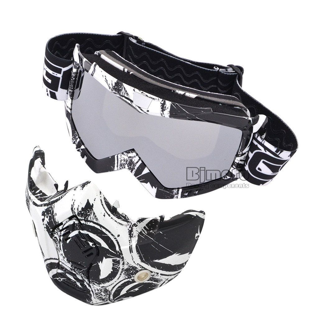Motocross Detachable Modular Mask Goggles And Mouth Filter