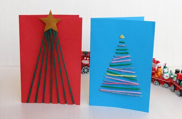 Tarjetas de Navidad hechas con lana