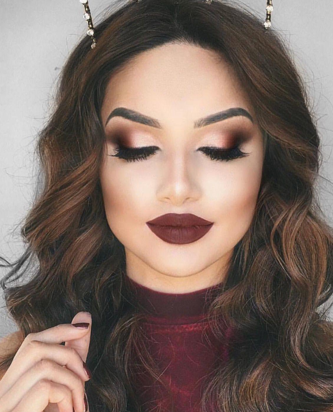 Pin by Bakheeta on Beauty  Burgundy eye makeup, Maroon makeup