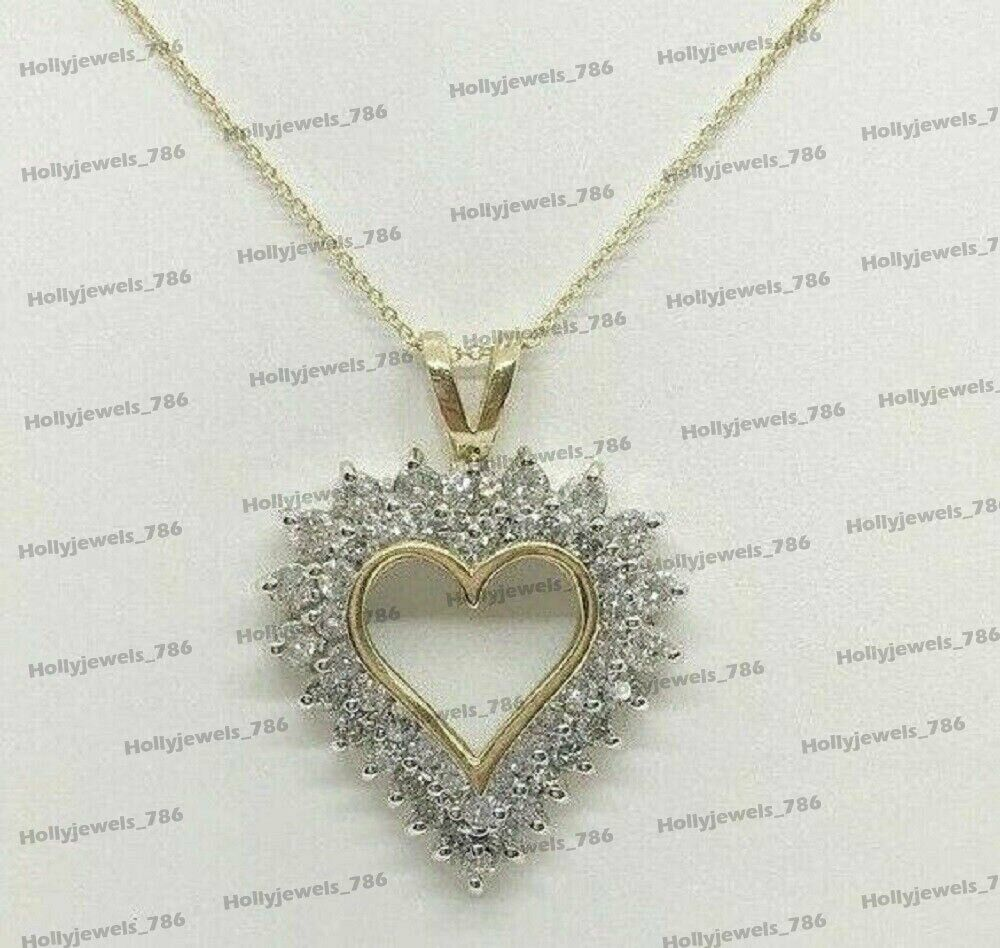 1.00 Ct Round Cut Simulated Diamond Double Heart Pendant Necklaces With Chain 10K White Gold
