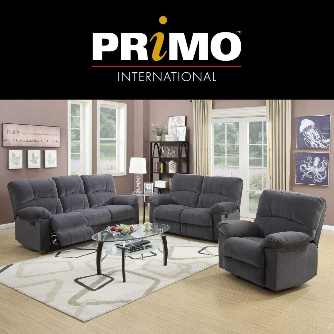 Crosby Plush Grey Sofa Set Sofa Couch Recliner Loveseat