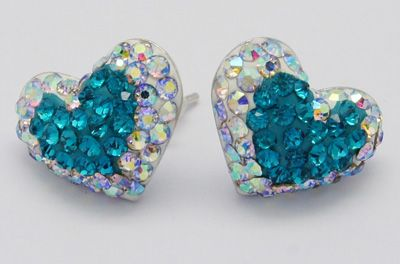 Charming and Gorgeous Swarovski Crystal Ear Studs, with Sterling Sliver, Heart