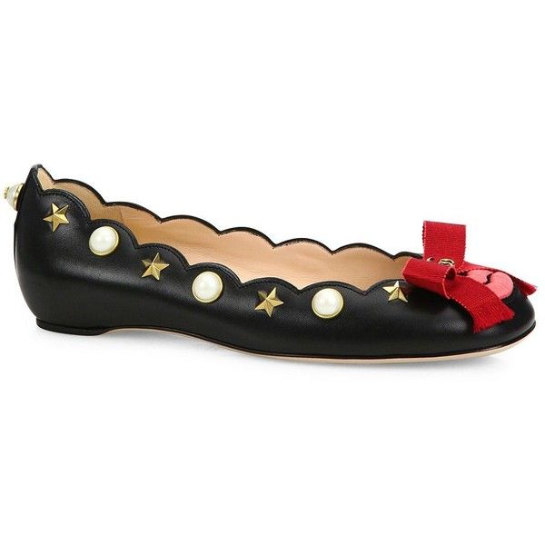 1cf68105f Gucci Lexi Studded Leather Lip Ballet Flats ($995) ❤ liked on Polyvore  featuring shoes