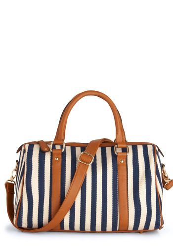 stripe travel bag with cognac leather details {drooling}
