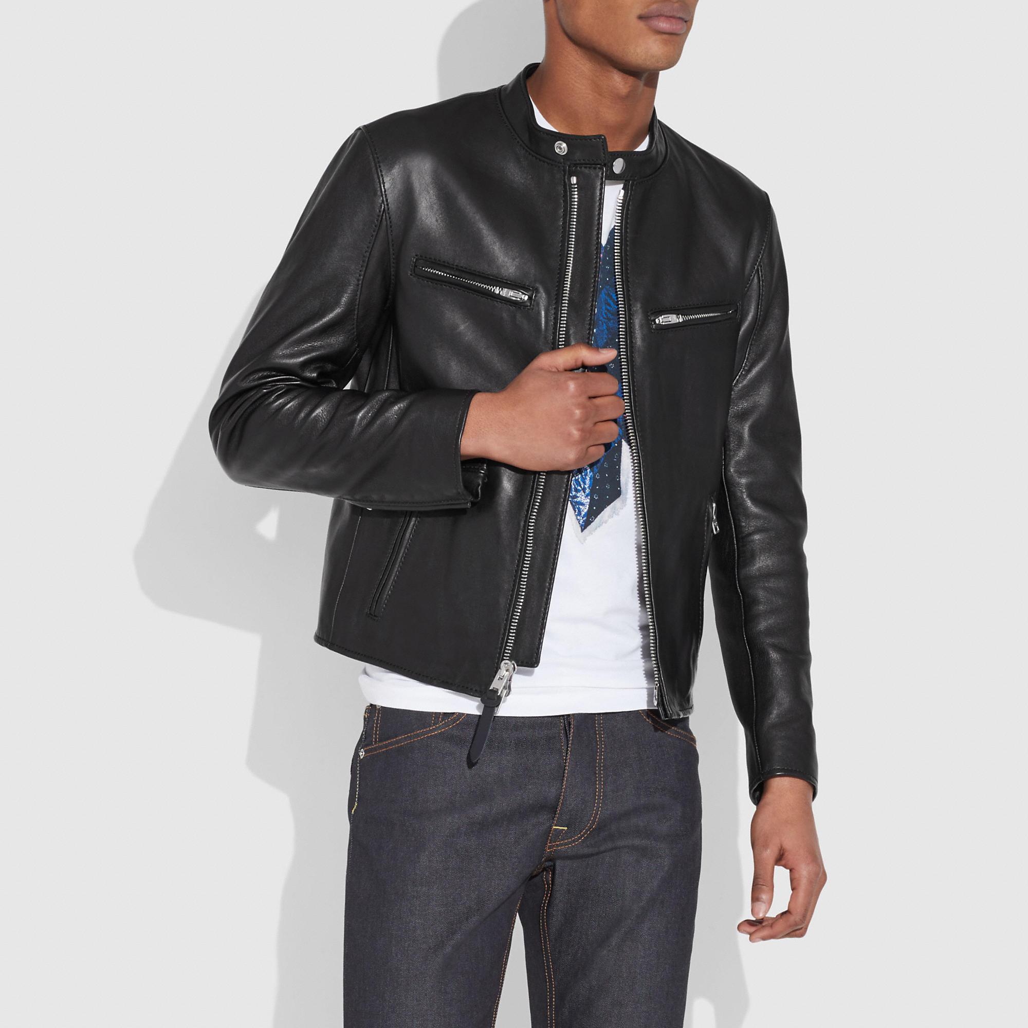Coach Racer Jacket In Black Modesens In 2021 Racer Jacket Leather Jacket Leather Jacket Men [ 2000 x 2000 Pixel ]