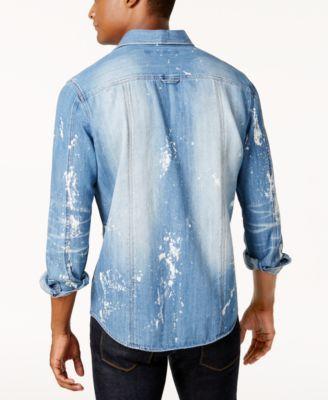 7e2954854d Sean John Men s Big   Tall 3D Washed Denim Shirt - Red 3XLT ...
