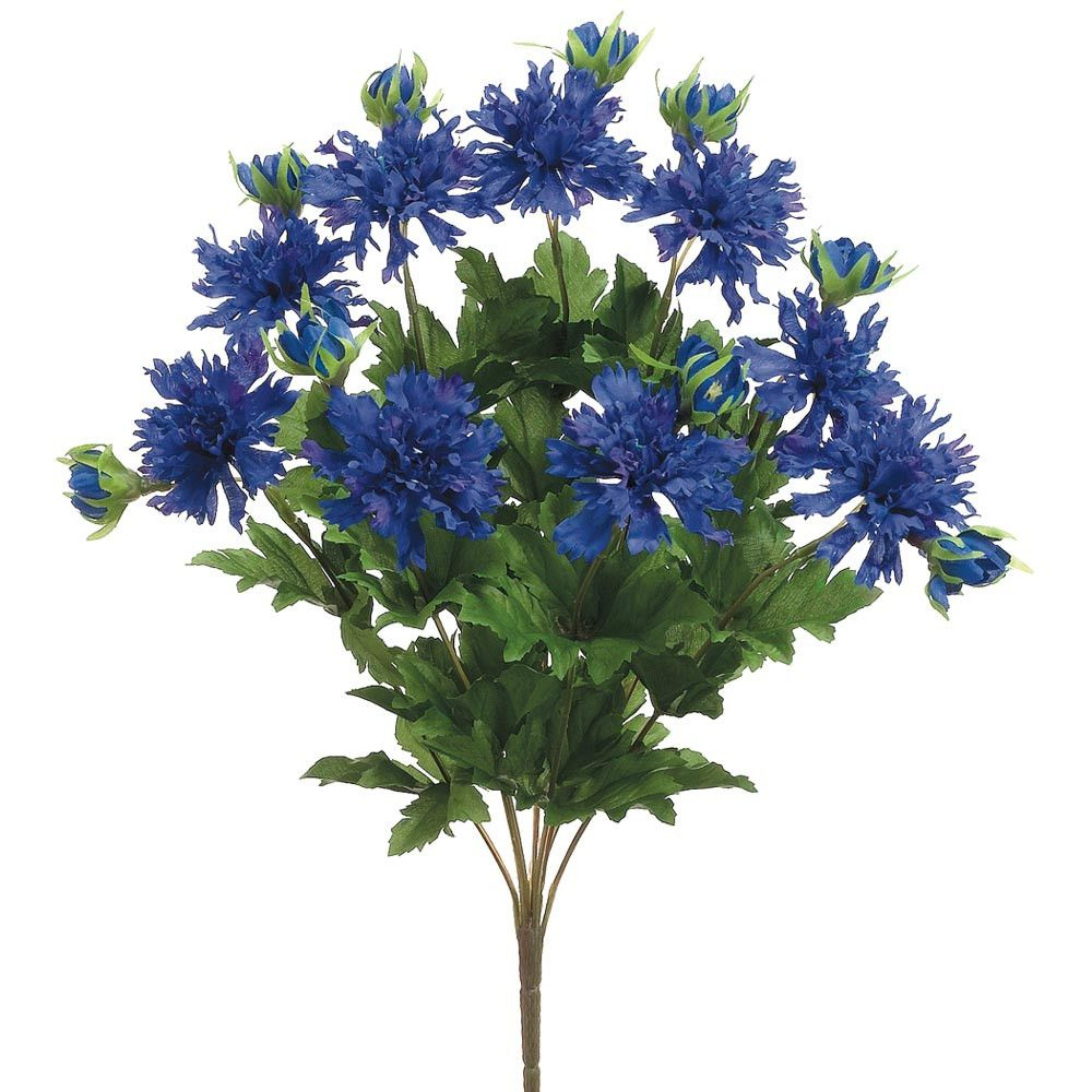 Faux Cornflower Bush In Dark Blue Silk Flowers Wedding Blue Flower Arrangements Artifical Flowers