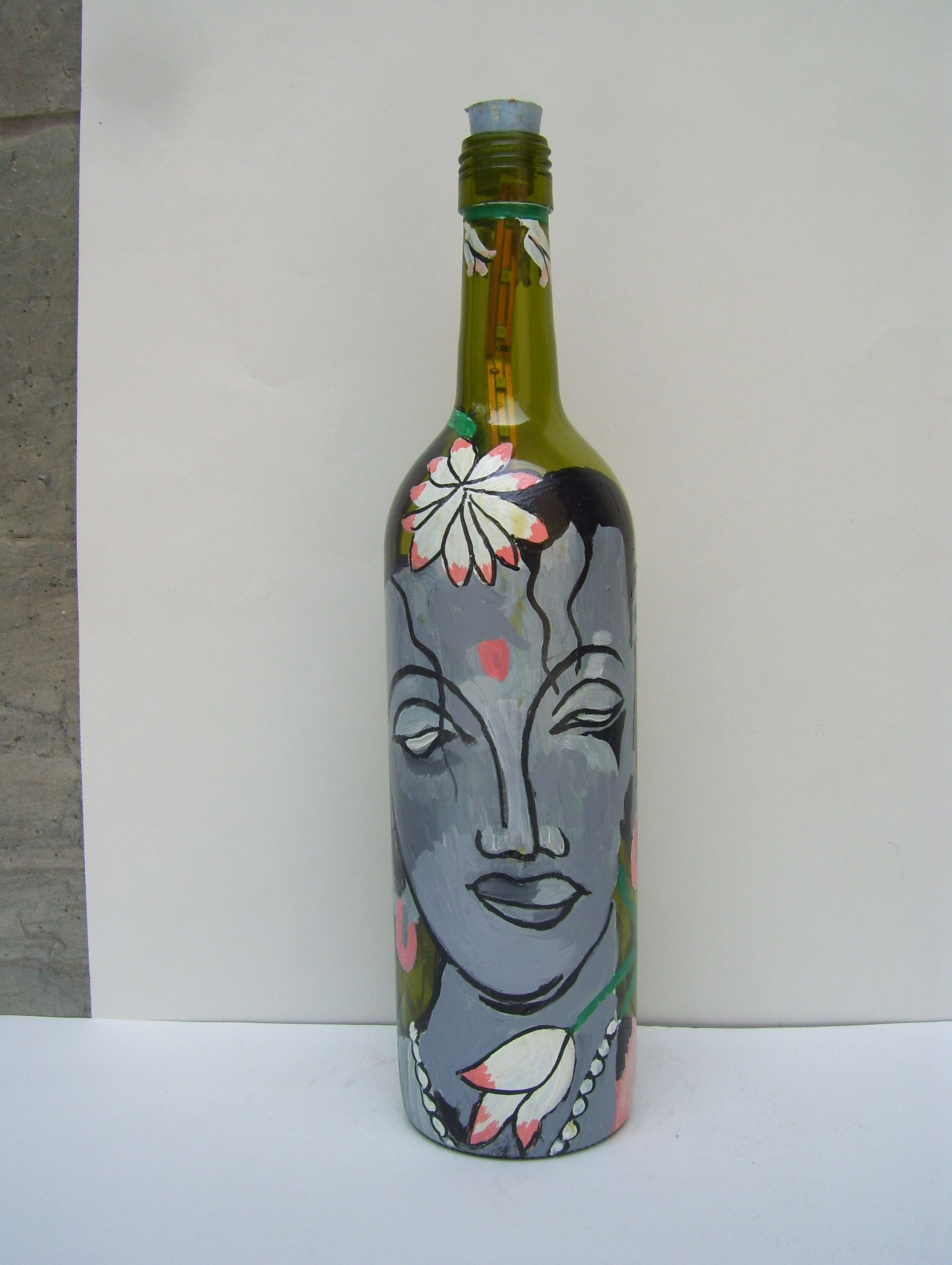 Hand Painted Glass Bottles From Bottles Not Empty