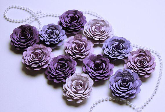 Purple Paper Flowers Loose Paper Flowers Purple Party Decor