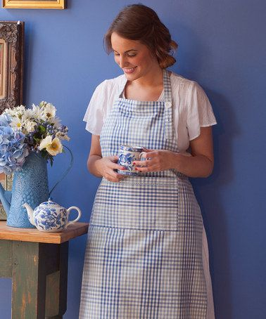 Take a look at this Blue Gingham Plaid Apron - Women by April Cornell on #zulily today!